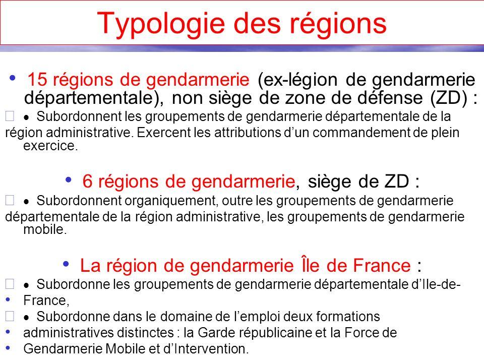 Typologie des régions 15 régions de gendarmerie (ex-légion de gendarmerie départementale), non siège de zone de défense (ZD) :