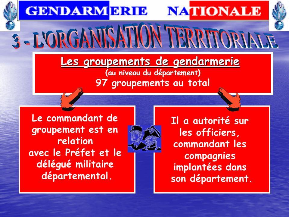 Les groupements de gendarmerie (au niveau du département)