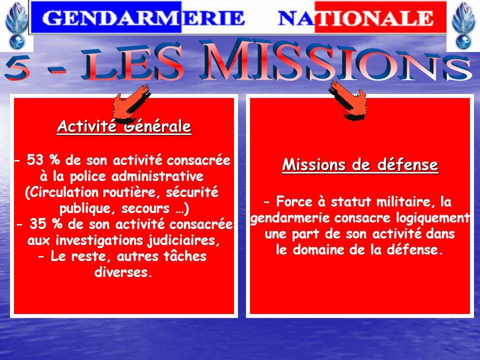 5 - LES MISSIONS Activité Générale Missions de défense
