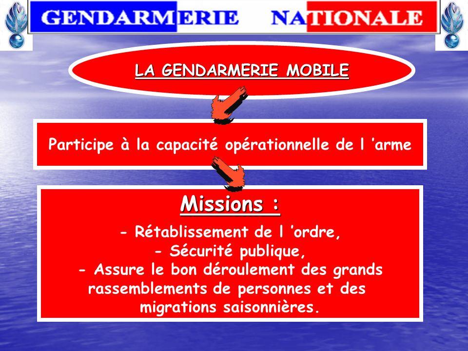 Missions : LA GENDARMERIE MOBILE
