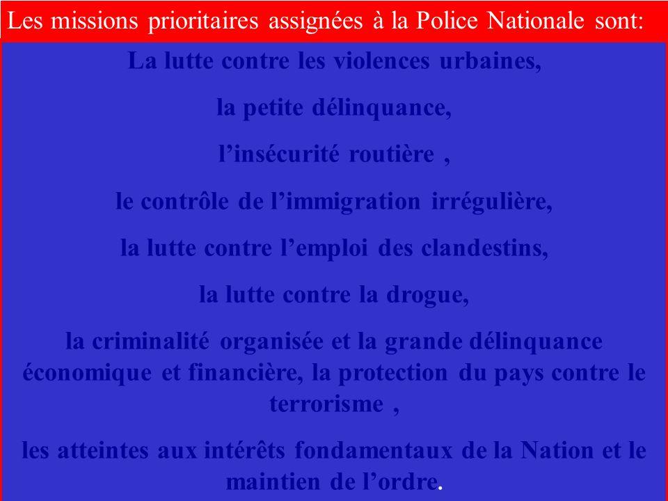 Les missions prioritaires assignées à la Police Nationale sont: