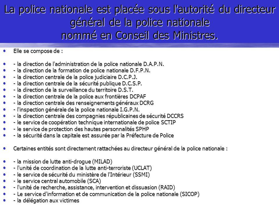 La police nationale est placée sous l autorité du directeur général de la police nationale nommé en Conseil des Ministres.