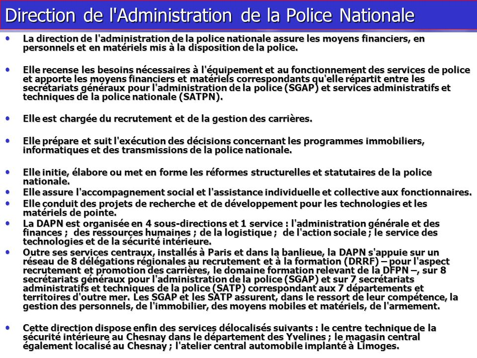 Direction de l Administration de la Police Nationale