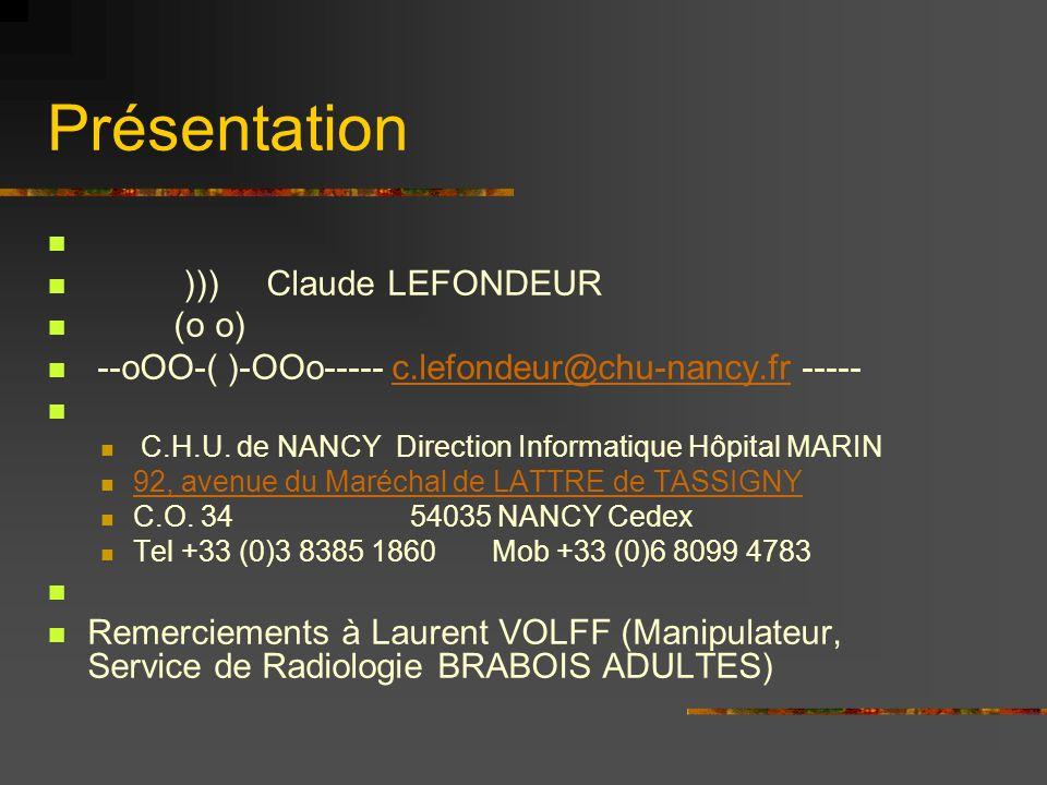 Présentation ))) Claude LEFONDEUR (o o)