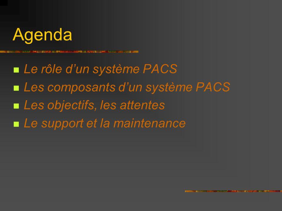 Agenda Le rôle d'un système PACS Les composants d'un système PACS