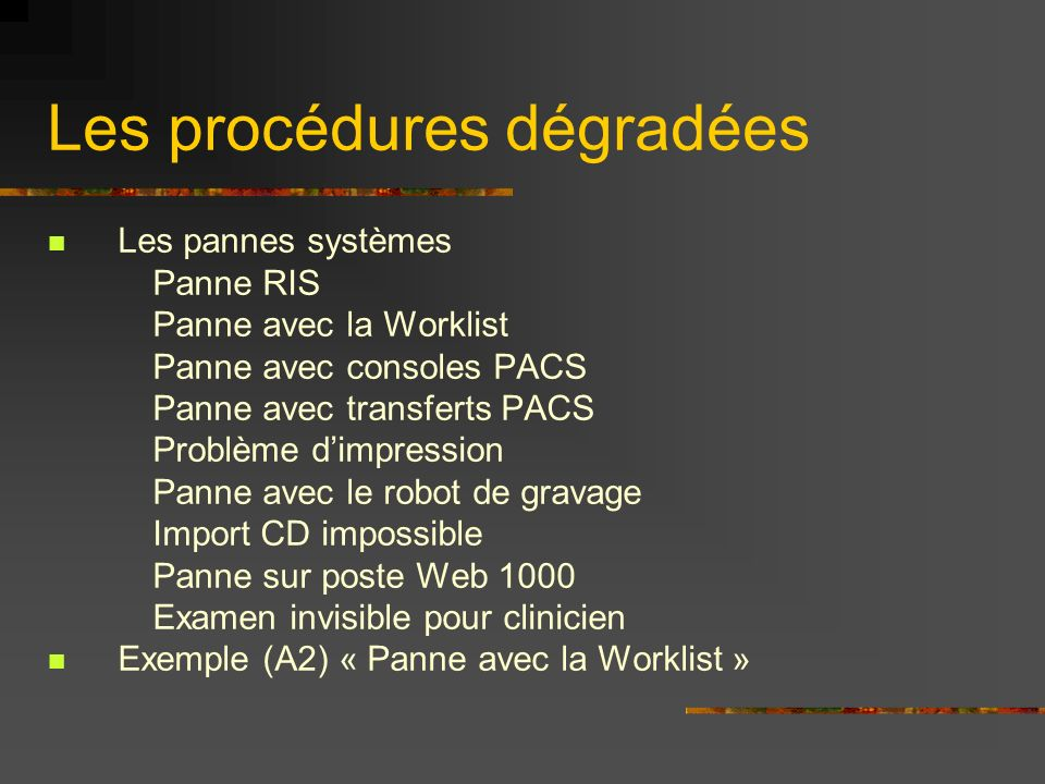 Les procédures dégradées