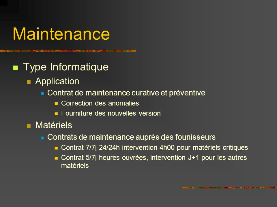 Maintenance Type Informatique Application Matériels
