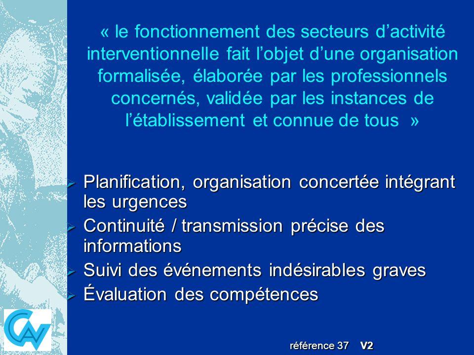 « le fonctionnement des secteurs d'activité interventionnelle fait l'objet d'une organisation formalisée, élaborée par les professionnels concernés, validée par les instances de l'établissement et connue de tous »