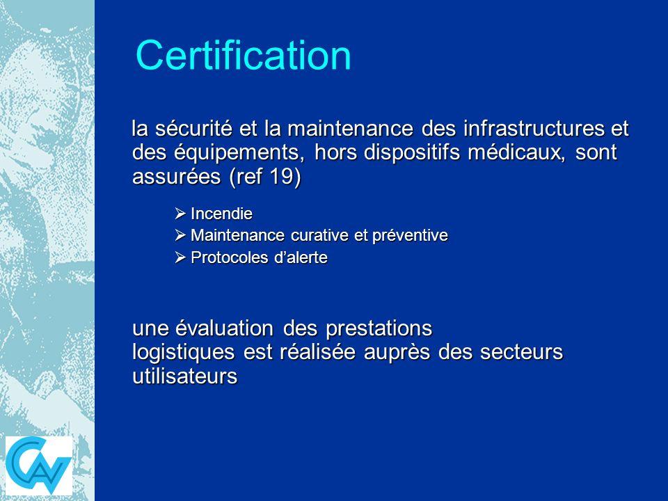 Certification la sécurité et la maintenance des infrastructures et des équipements, hors dispositifs médicaux, sont assurées (ref 19)