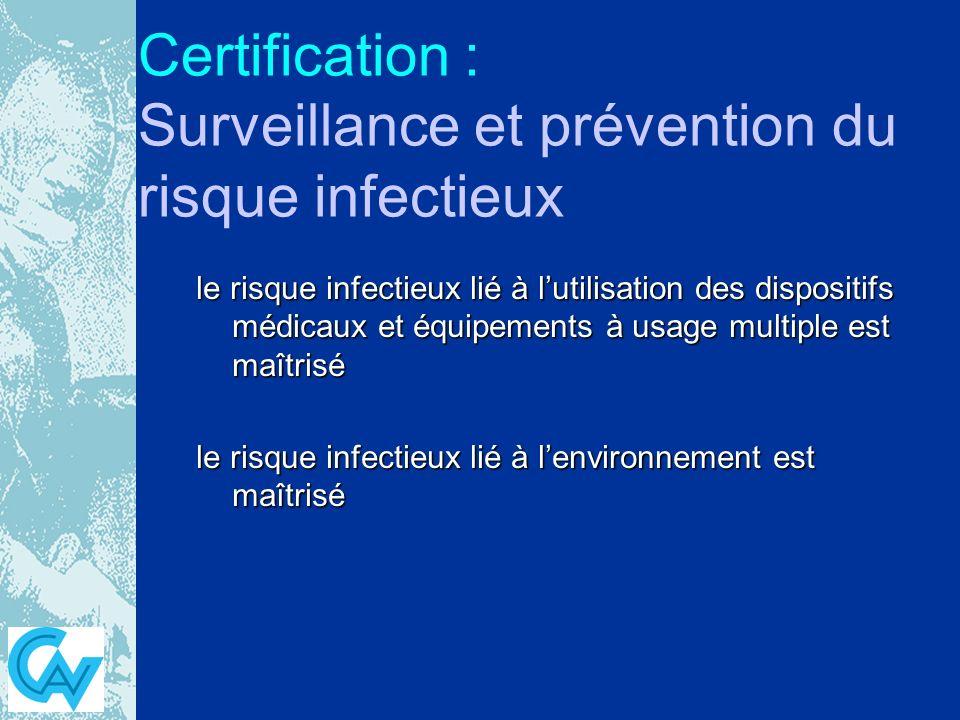 Certification : Surveillance et prévention du risque infectieux