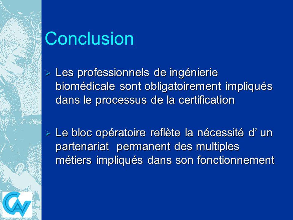 Conclusion Les professionnels de ingénierie biomédicale sont obligatoirement impliqués dans le processus de la certification.
