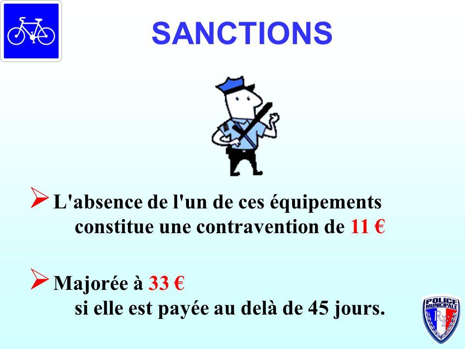 SANCTIONS L absence de l un de ces équipements constitue une contravention de 11 € Majorée à 33 €