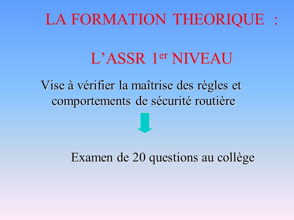 LA FORMATION THEORIQUE : L'ASSR 1er NIVEAU