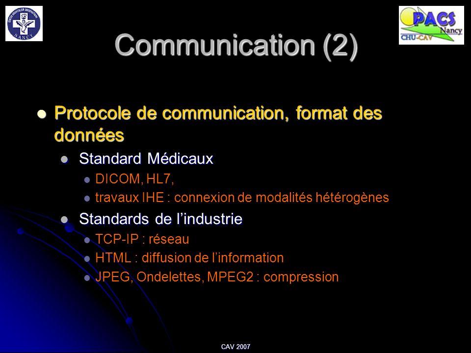 Communication (2) Protocole de communication, format des données