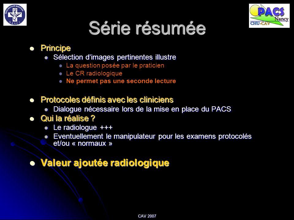 Série résumée Valeur ajoutée radiologique Principe