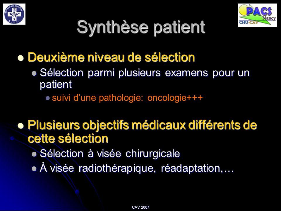 Synthèse patient Deuxième niveau de sélection