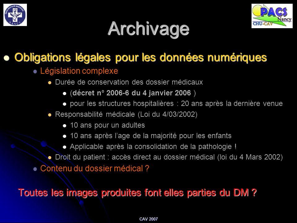 Archivage Obligations légales pour les données numériques