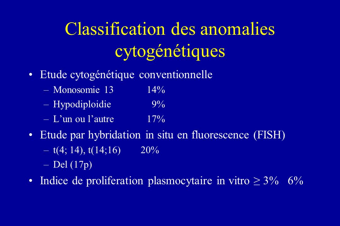 Classification des anomalies cytogénétiques