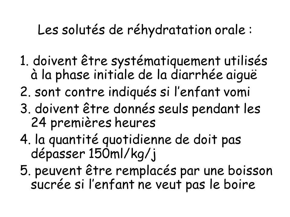Les solutés de réhydratation orale :