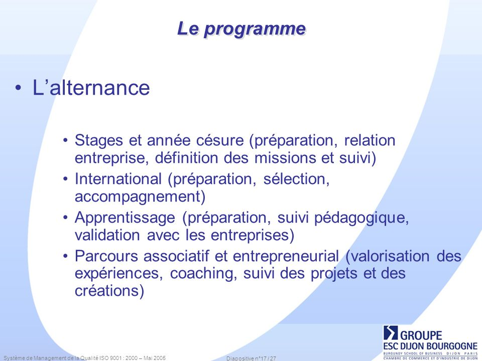 L'alternance Le programme