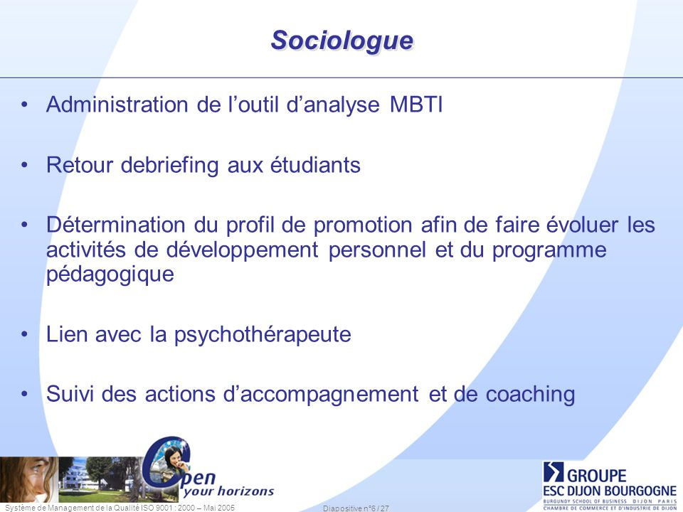 Sociologue Administration de l'outil d'analyse MBTI