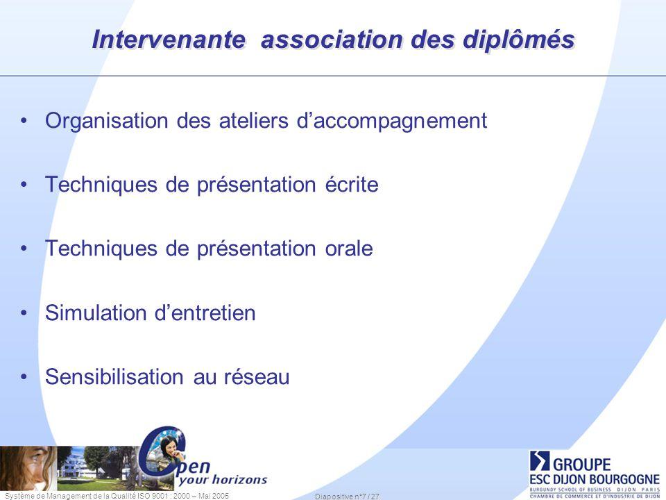 Intervenante association des diplômés