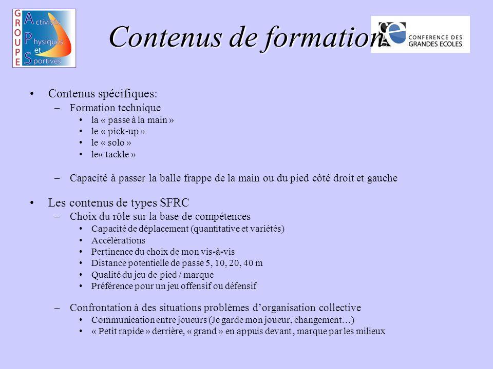 Contenus de formation Contenus spécifiques: Les contenus de types SFRC