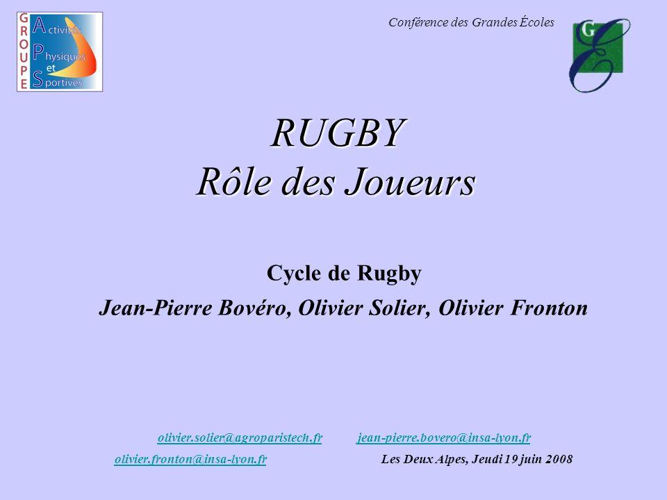 RUGBY Rôle des Joueurs Cycle de Rugby