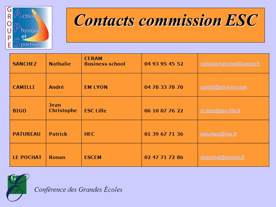 Contacts commission ESC