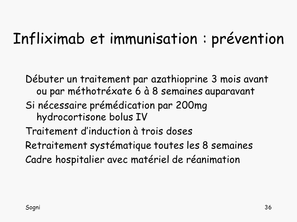 Infliximab et immunisation : prévention