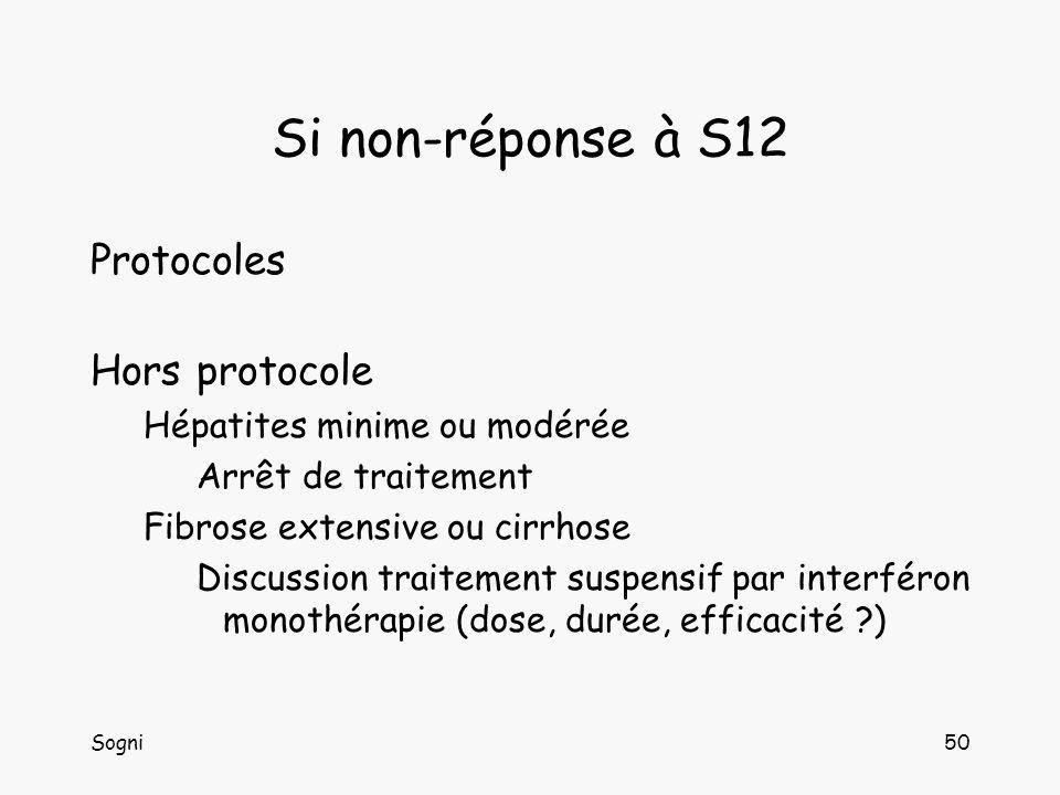 Si non-réponse à S12 Protocoles Hors protocole