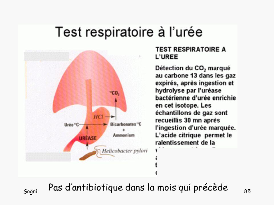 HP : test respiratoire Pas d'antibiotique dans la mois qui précède