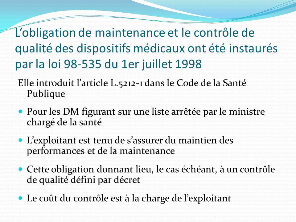 L'obligation de maintenance et le contrôle de qualité des dispositifs médicaux ont été instaurés par la loi 98-535 du 1er juillet 1998