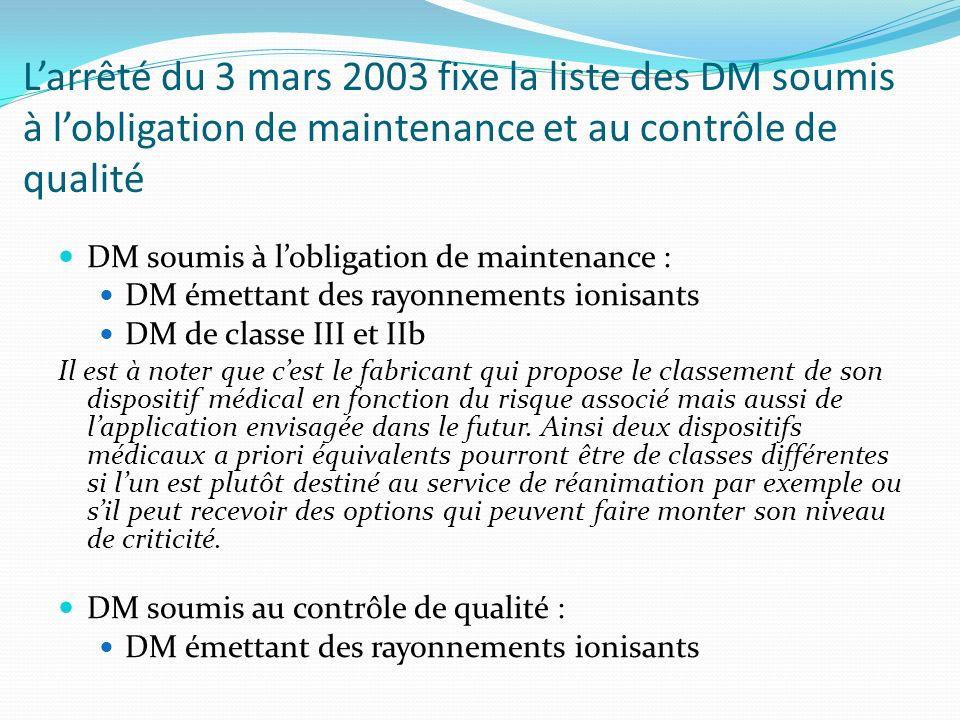 L'arrêté du 3 mars 2003 fixe la liste des DM soumis à l'obligation de maintenance et au contrôle de qualité
