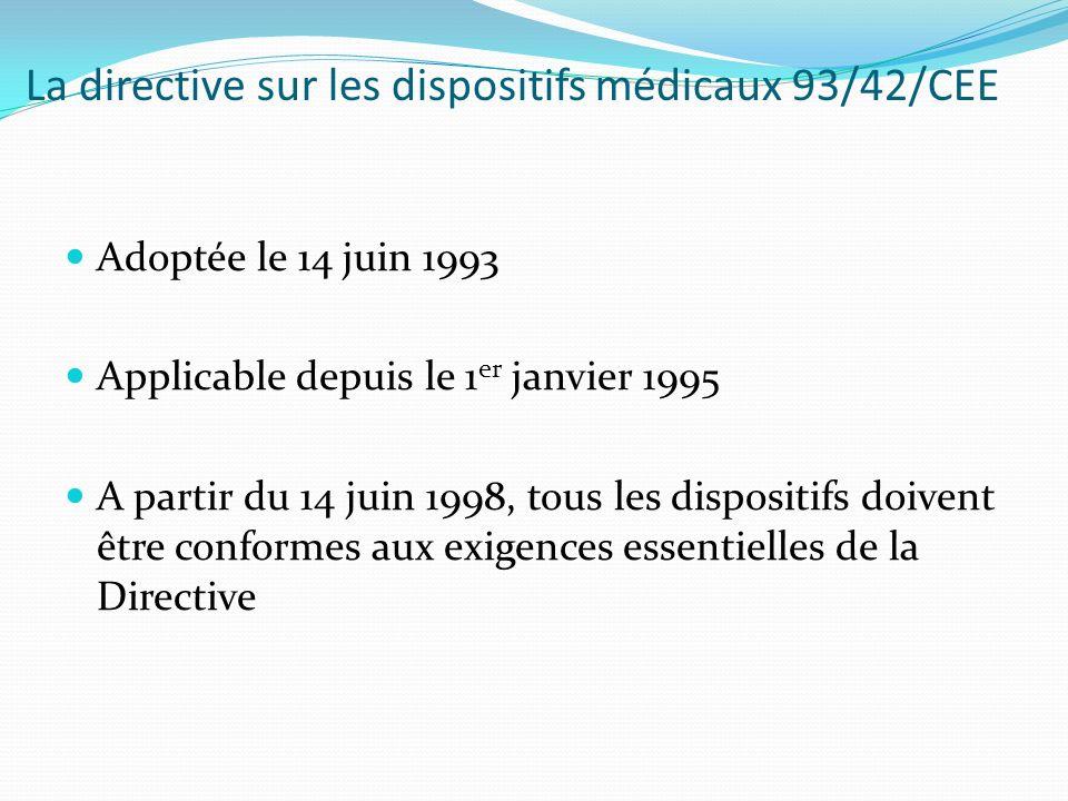 La directive sur les dispositifs médicaux 93/42/CEE