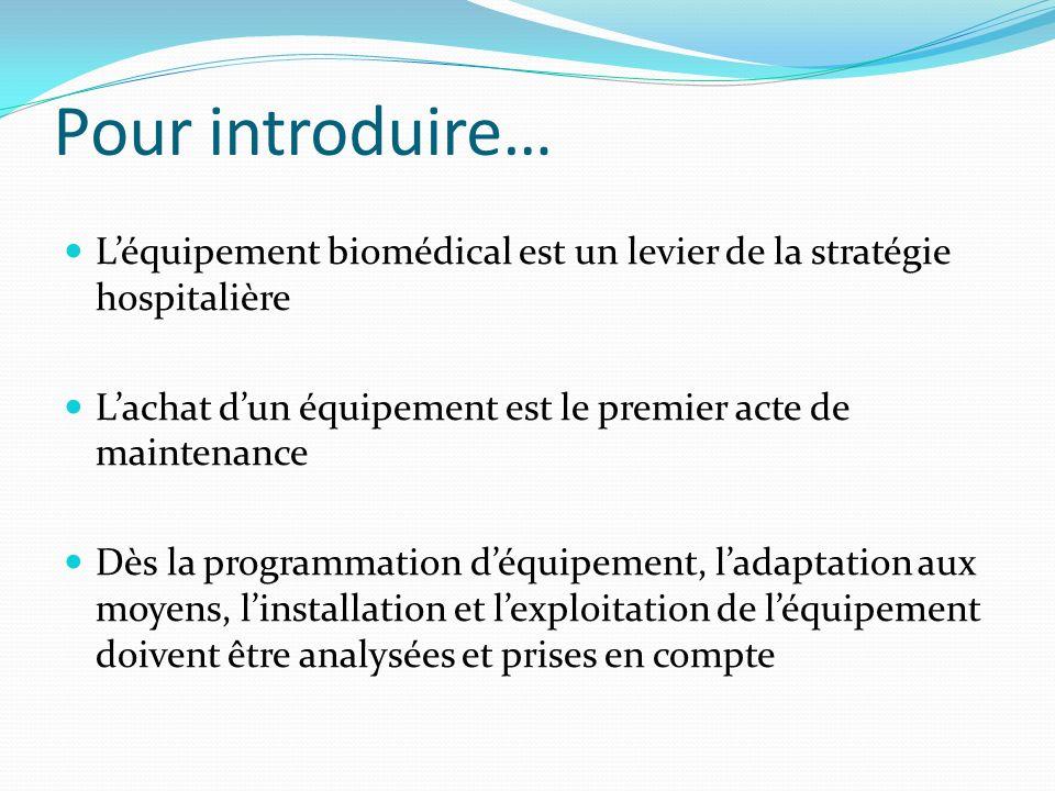 Pour introduire… L'équipement biomédical est un levier de la stratégie hospitalière. L'achat d'un équipement est le premier acte de maintenance.