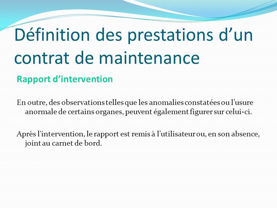 Définition des prestations d'un contrat de maintenance