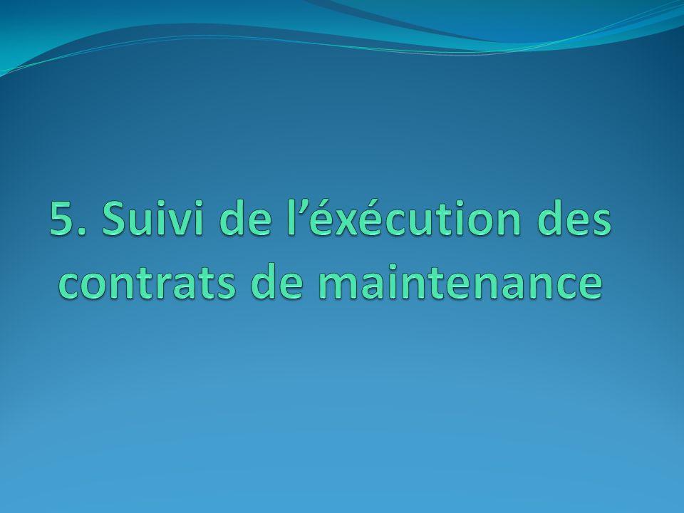 5. Suivi de l'éxécution des contrats de maintenance