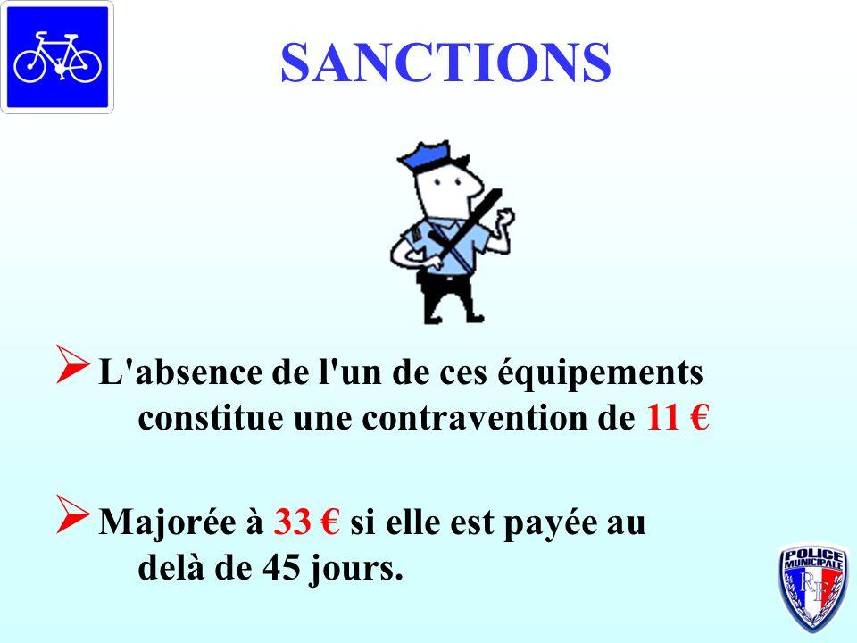 SANCTIONS L absence de l un de ces équipements constitue une contravention de 11 € Majorée à 33 € si elle est payée au delà de 45 jours.