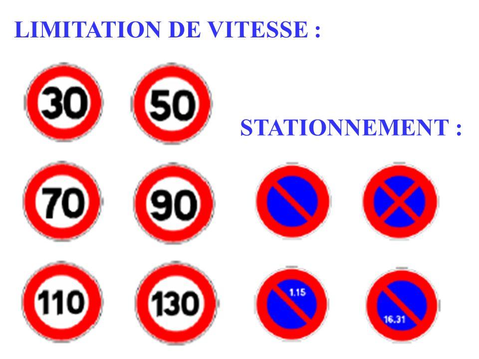 LIMITATION DE VITESSE :