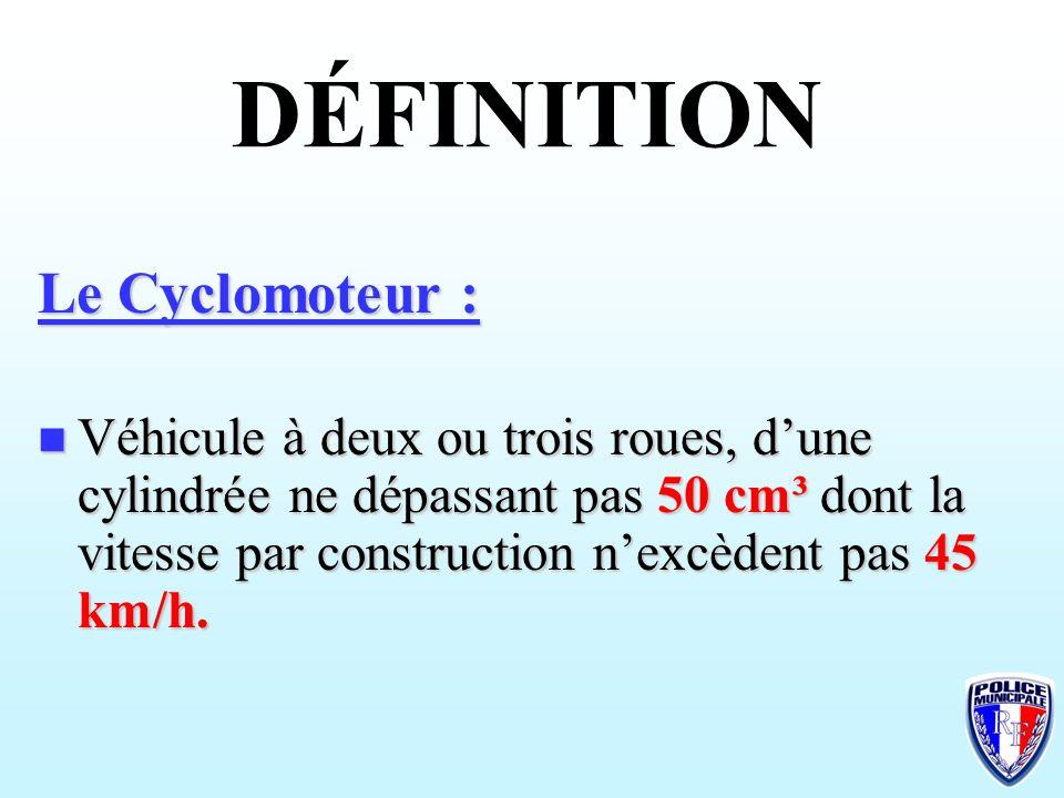 DÉFINITION Le Cyclomoteur :