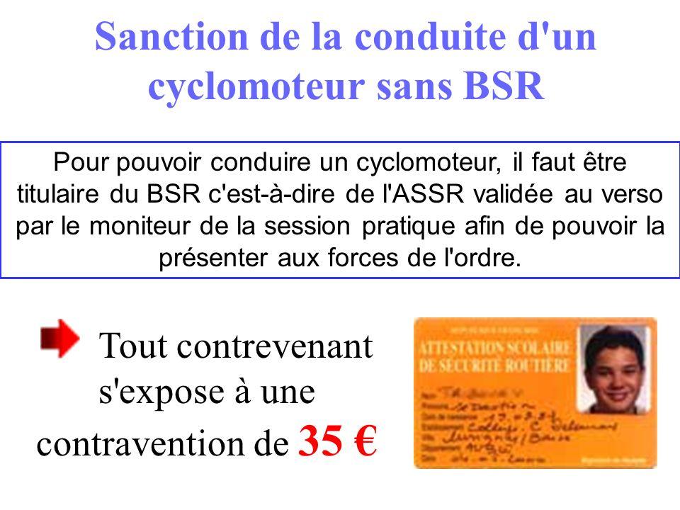 Sanction de la conduite d un cyclomoteur sans BSR