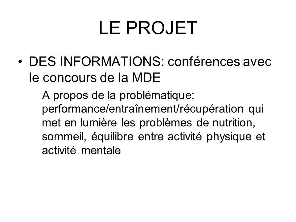 LE PROJET DES INFORMATIONS: conférences avec le concours de la MDE