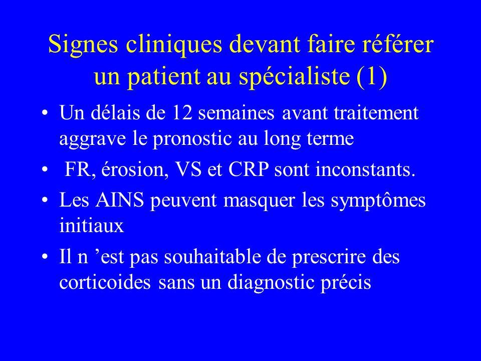 Signes cliniques devant faire référer un patient au spécialiste (1)