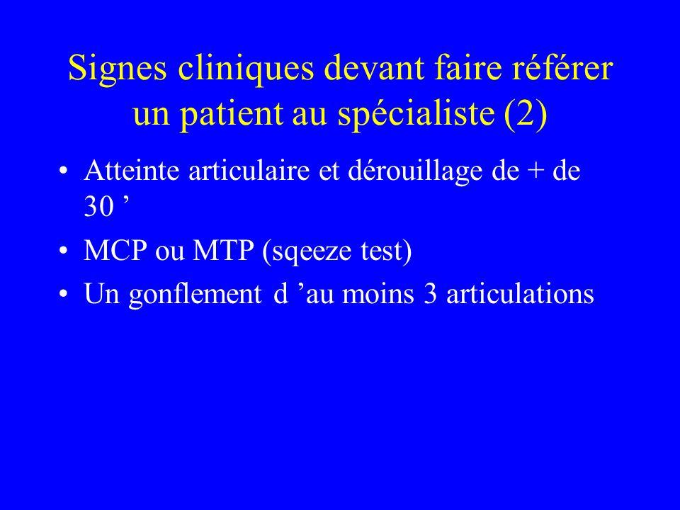 Signes cliniques devant faire référer un patient au spécialiste (2)