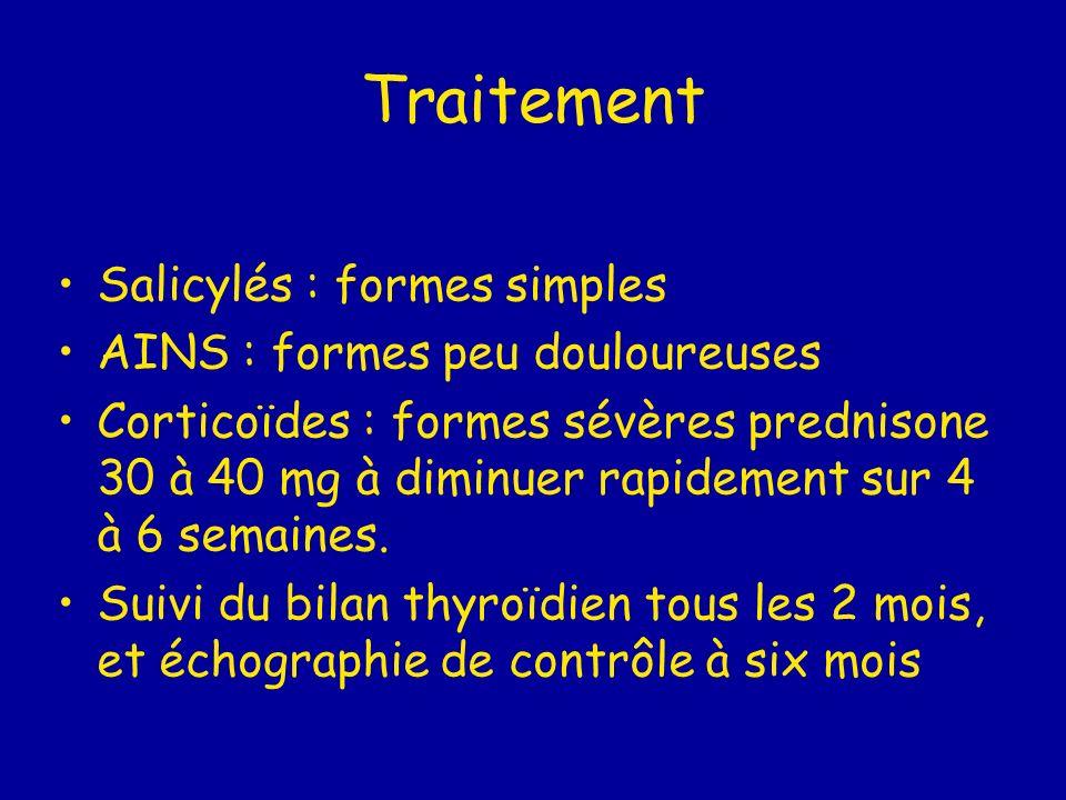 Traitement Salicylés : formes simples AINS : formes peu douloureuses