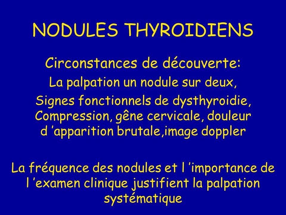 NODULES THYROIDIENS Circonstances de découverte: