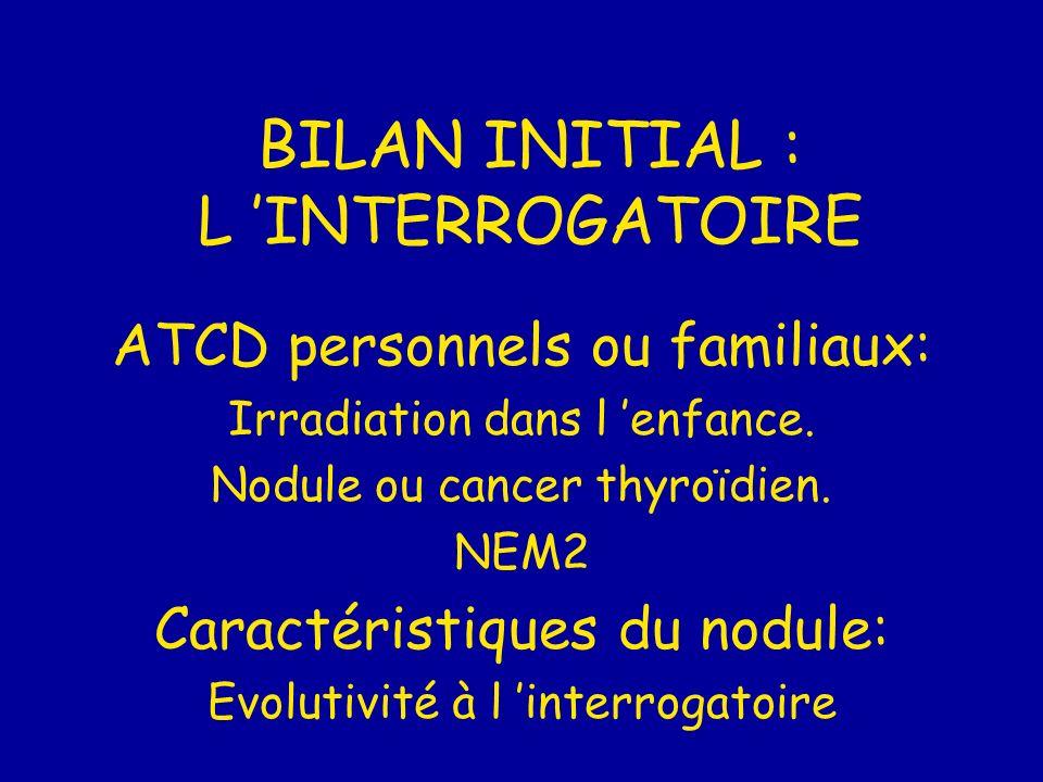 BILAN INITIAL : L 'INTERROGATOIRE