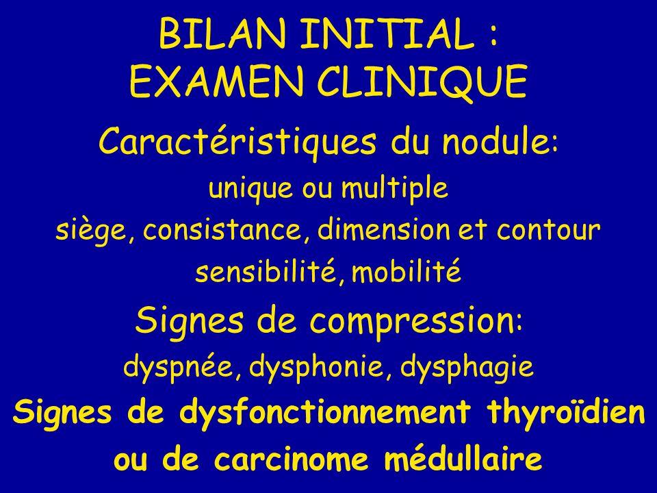 BILAN INITIAL : EXAMEN CLINIQUE