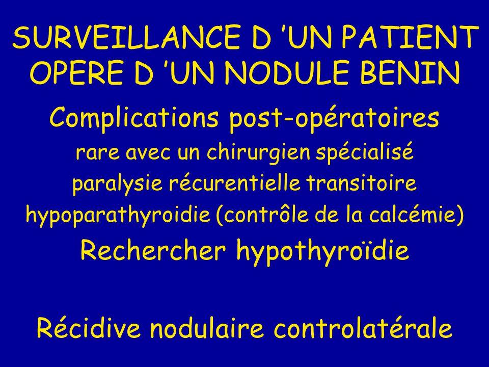 SURVEILLANCE D 'UN PATIENT OPERE D 'UN NODULE BENIN